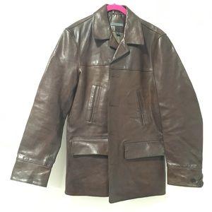 John Varvatos Brown Calfskin Leather Jacket